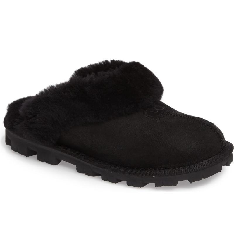 Genuine Shearling Slippers in Black.