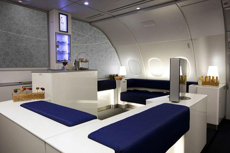 Posh business-class cabins