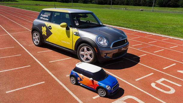 Radio-controlled mini Mini Coopers get an Olympic track tryout