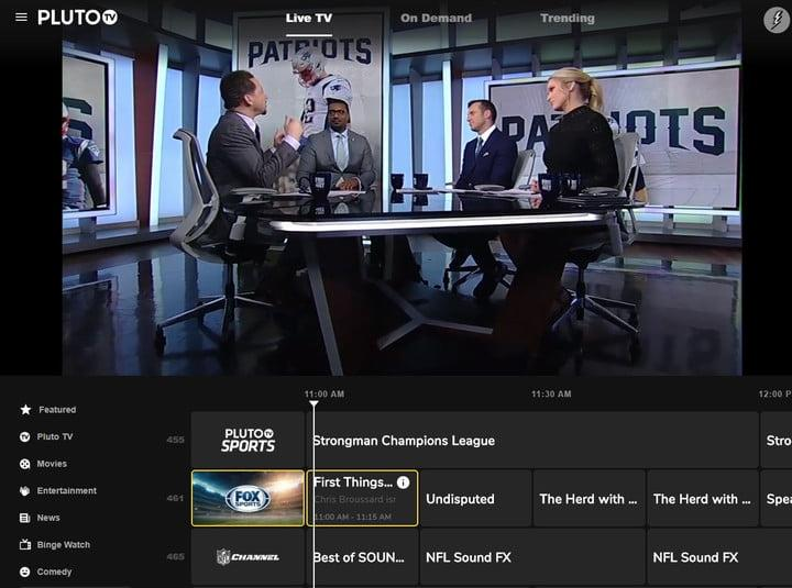 A screenshot of the Pluto TV web interface in February 2020.