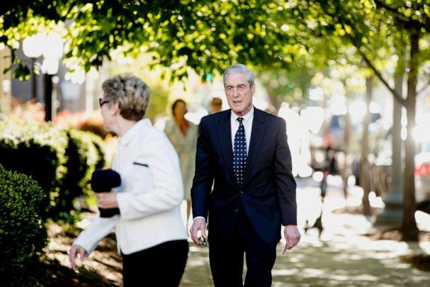 PHOTO: Special Counsel Robert Mueller and his wife Ann Cabell Standish, left, arrive for Easter services at St. John's Episcopal Church, April 21, 2019, in Washington D.C. (Andrew Harnik/AP)