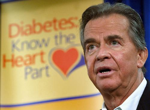 "FILE - In this July 8, 2004 file photo, Dick Clark speaks about diabetes during a visit to Tampa General Hospital in Tampa, Fla. Clark, the television host who helped bring rock 'n' roll into the mainstream on ""American Bandstand,"" has died. He was 82. (AP Photo/Chris O'Meara, File)"
