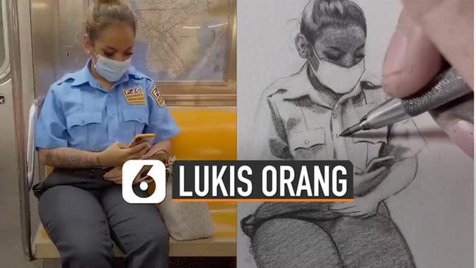 VIDEO: Keren, Pria Ini Lukis Orang Selama Perjalanan Kereta
