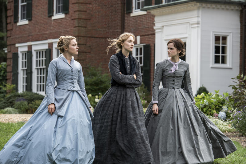 """This image released by Sony Pictures shows, from left, Florence Pugh, Saoirse Ronan and Emma Watson in a scene from """"Little Women."""" On Monday, Jan. 13, Ronan was nominated for an Oscar for best actress for her role in the film. (Wilson Webb/Sony Pictures via AP)"""