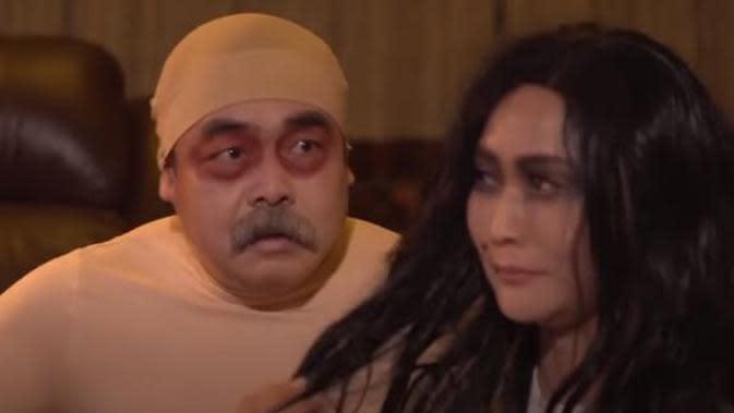 Inul dan Adam Suseno dandan jadi hantu. (Sumber: YouTube/ Inul Daratista Official)