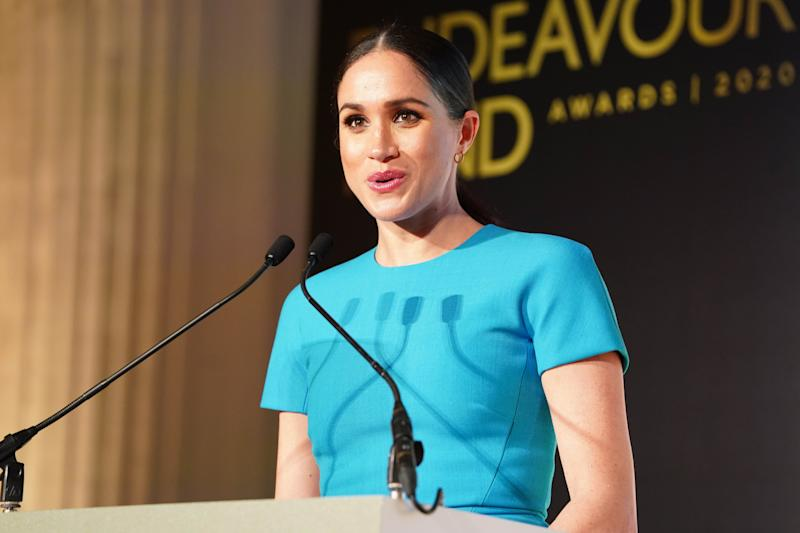 Britain's Meghan, Duchess of Sussex delivers a speech during the Endeavour Fund Awards at Mansion House in London on March 5, 2020. - The Endeavour Fund helps servicemen and women have the opportunity to rediscover their self-belief and fighting spirit through physical challenges. (Photo by Paul Edwards / POOL / AFP) (Photo by PAUL EDWARDS/POOL/AFP via Getty Images)