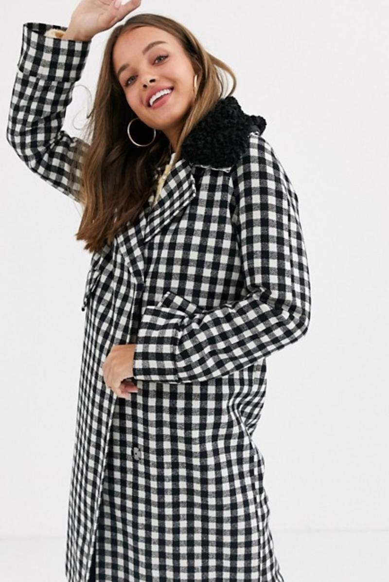ASOS DESIGN check coat with fleece collar detail (photo via ASOS)