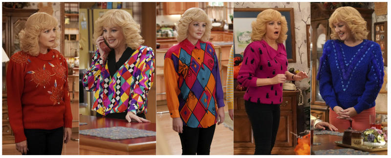 """This combination of photos released by ABC shows McLendon-Covey as Beverly Goldberg in scenes from the comedy series """"The Goldbergs.""""  Costume designer Keri Smith creates the signature looks for the fictional Beverly. (ABC via AP)"""