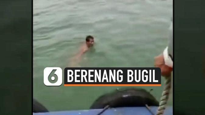 VIDEO: Diduga Depresi, Pria Berenang Bugil di Laut Selama 4 Hari