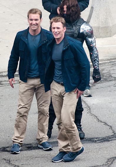 Chris Evans, his stunt double and Sebastian Stan on the set of 'Captain America 2' in Cleveland