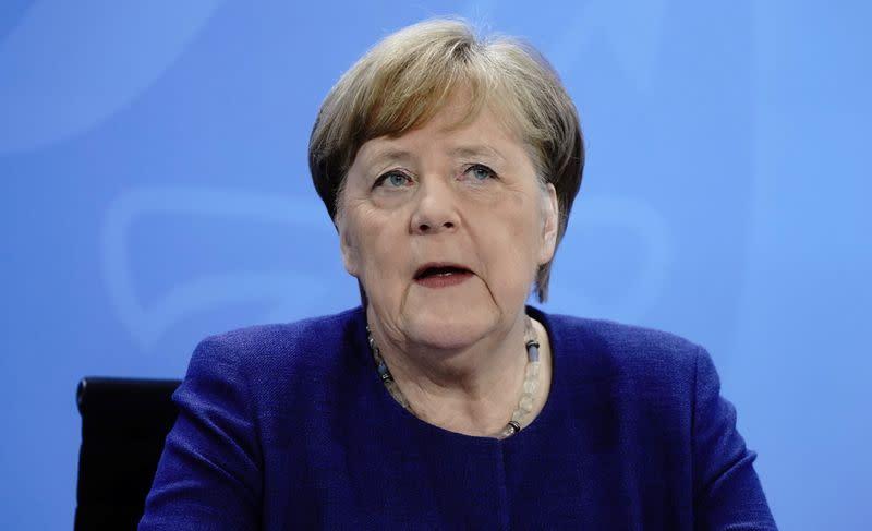 German Chancellor Angela Merkel news conference on the spread of the new coronavirus disease (COVID-19) in Berlin