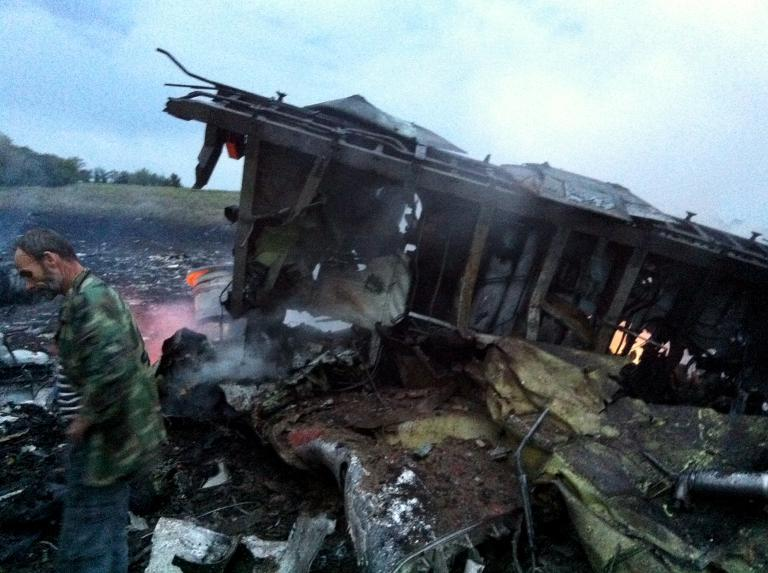 A man stands next to the wreckage of a Malaysia Airlines plane carrying 295 people from Amsterdam to Kuala Lumpur after it crashed, in rebel-held east Ukraine, on July 17, 2014