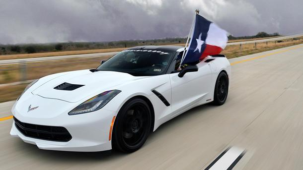See a 700-hp Hennessey Corvette Stingray hit 200 mph on a Texas toll road