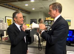 Jon Stewart Gets a Visit From Brian Williams While Making Fun of His On-Air Fire Alarm