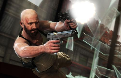"In this video game screen grab image provided by Rockstar Games, the video game character Max Payne uses his Shootdodge maneuver to fire off some shots in ""Max Payne 3."" (AP Photo/Rockstar Games)"