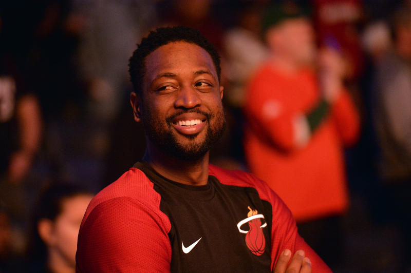 Miami Heat guard Dwyane Wade stands on the court before an NBA basketball game against the Memphis Grizzlies on Friday, Dec. 14, 2018, in Memphis, Tenn. (AP Photo/Brandon Dill)
