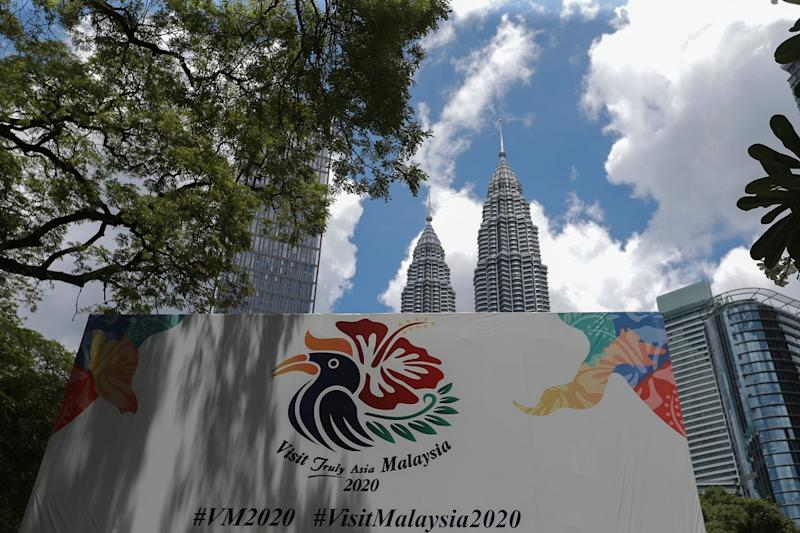 A Visit Malaysia 2020 logo near KLCC in Kuala Lumpur March 28, 2020. Tourism is one of the main industries hit by the outbreak of Covid-19. — Picture by Ahmad Zamzahuri