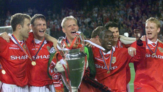 MU sukses kalahkan Bayern Munchen 2-1 di final Liga Champions 1999 (ERIC CABANIS / AFP)