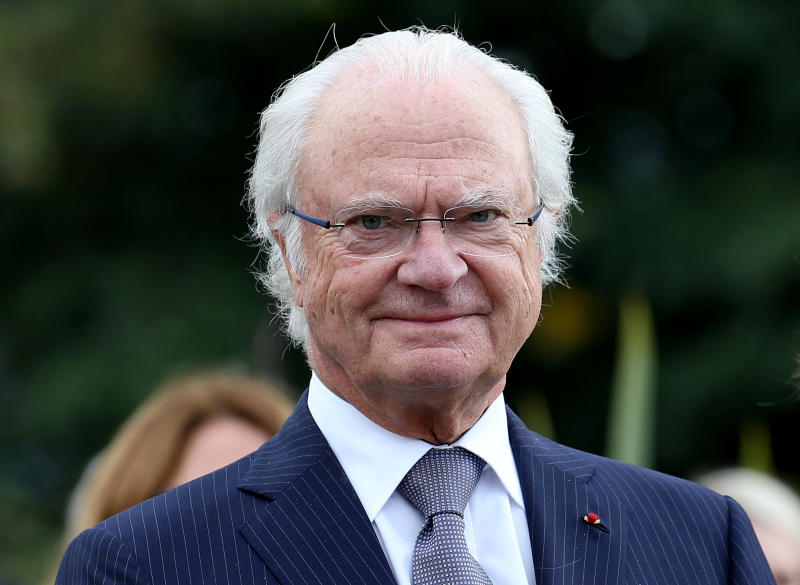 Sweden's King Carl XVI Gustaf is pictured during a visit at the Beaumont house in Pau, southwestern France, Monday, Oct.8, 2018. (AP Photo/Bob Edme)