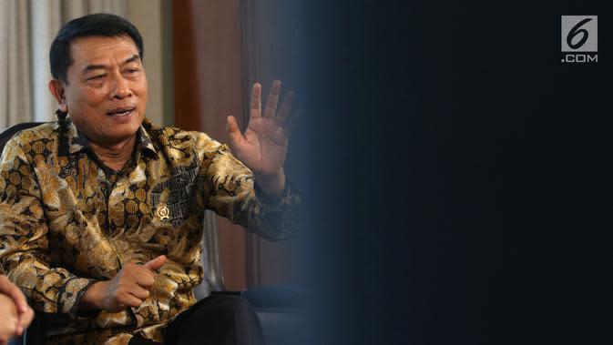 Kepala Staf Presiden Moeldoko saat wawancara dengan KLY di Jakarta, Rabu (16/1). Dalam wawancara tersebut Moeldoko memaparkan kinerja kerja pemerintahan Jokowi-JK hingga saat ini. (Liputan6.com/Angga Yuniar)