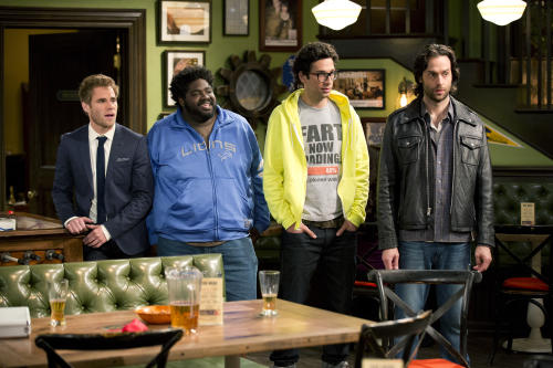 "This undated publicity image released by NBC shows, from left, Matthew Wilkas as Brett, Ron Funches as Shelly, Rick Glassman as Burski, and Chris D'Elia as Danny Beeman in a scene from the new series ""Undateable."" Wilkas, who plays a picky guy looking for love, recently appeared in the Broadway musical ""Spider-Man: Turn Off the Dark."" (AP Photo/NBC, Justin Lubin)"