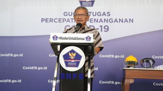 Juru Bicara Pemerintah Untuk Penanganan COVID-19, Achmad Yurianto pada konferensi pers update Corona di Graha BNPB, Jakarta, Rabu (15/4/2020). (Dok Badan Nasional Penanggulangan Bencana/BNPB)