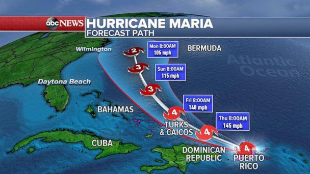 PHOTO: Hurricane Maria is forecast to move through Turks and Caicos, but not make a direct hit, Sat. 21, 2017. (ABC News)