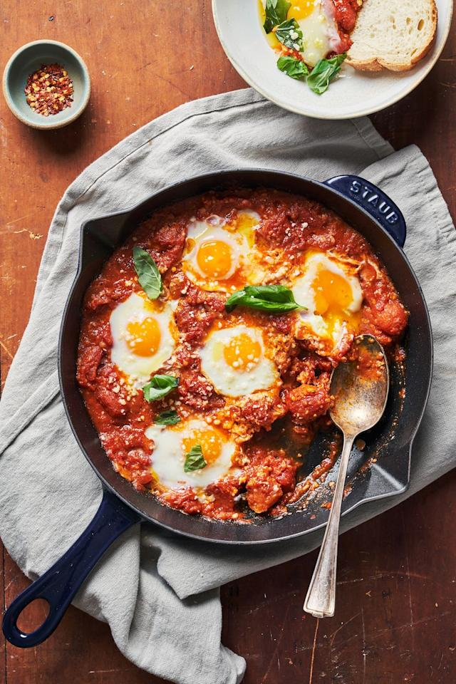 """<p>The perfect crowd-pleasing brunch dish!</p><p>Get the recipe form <a href=""""https://www.delish.com/cooking/recipe-ideas/a32292237/eggs-in-purgatory/"""" target=""""_blank"""">Delish</a>. </p>"""