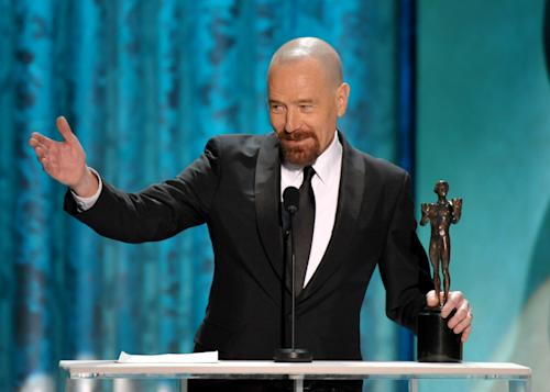 "Bryan Cranston accepts the award for outstanding male actor in a drama series for ""Breaking Bad"" at the 19th Annual Screen Actors Guild Awards at the Shrine Auditorium in Los Angeles on Sunday Jan. 27, 2013. (Photo by John Shearer/Invision/AP)"