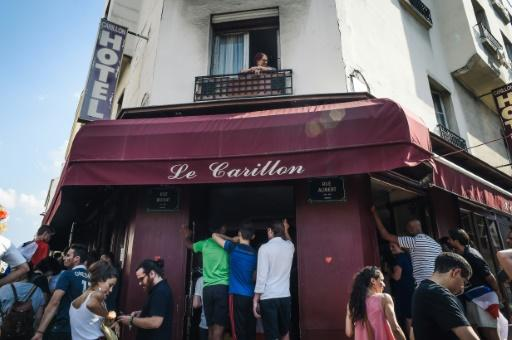People packed into Le Carillon to watch Sunday's World Cup final
