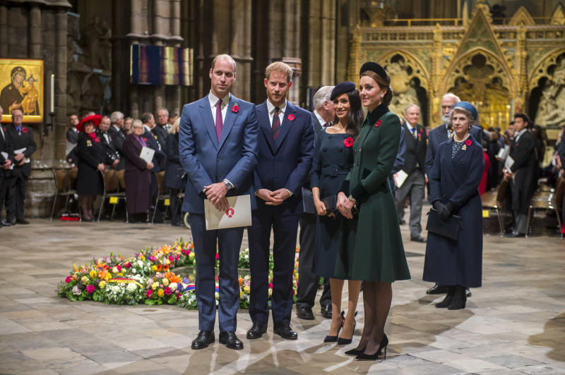 The royal fab four - Prince William, Prince Harry, Meghan Markle and Kate Middleton - attended a service marking the centenary of WW1 armistice at Westminster Abbey. Photo: Getty Royal fab four reunite for Remembrance Day service: Prince William, Kate Middleton, Prince Harry, Meghan Markle