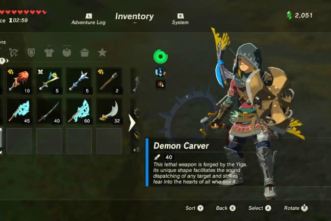 the legend of zelda breath wild best weapons demon