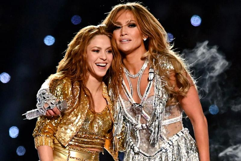 Shakira (L) and Jennifer Lopez during the 2020 Super Bowl halftime show | Kevin Mazur/WireImage