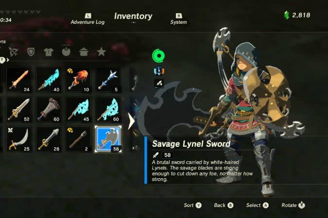 the legend of zelda breath wild best weapons lynel sw