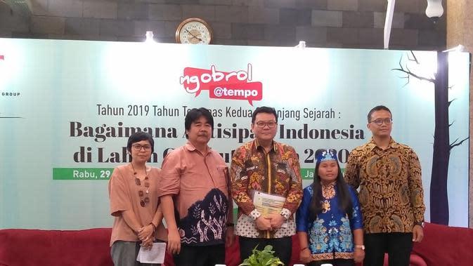 Diskusi publik terkait antisipasi kebakaran hutan dan lahan gambut tahun 2020, Rabu, 29 Januari 2020 di Balai Kartini, Jakarta. (Liputan6.com/Adhita Diansyavira)