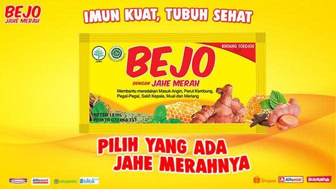 Bejo Jahe Merah memiliki kandungan jahe merah dan madu dengan perpaduan herbal lainnya yang mampu menjadi obat masuk angin, mual, dan meriang.