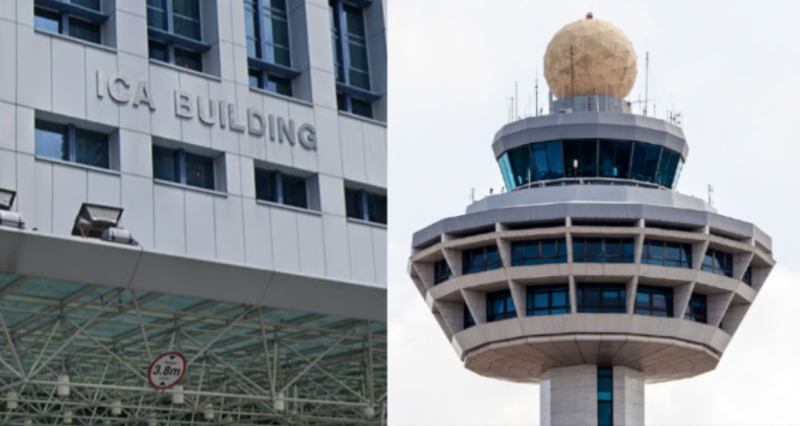ICA Building and Changi Airport Control Tower. (SCREENSHOT and PHOTO: Google Maps and Getty Images)