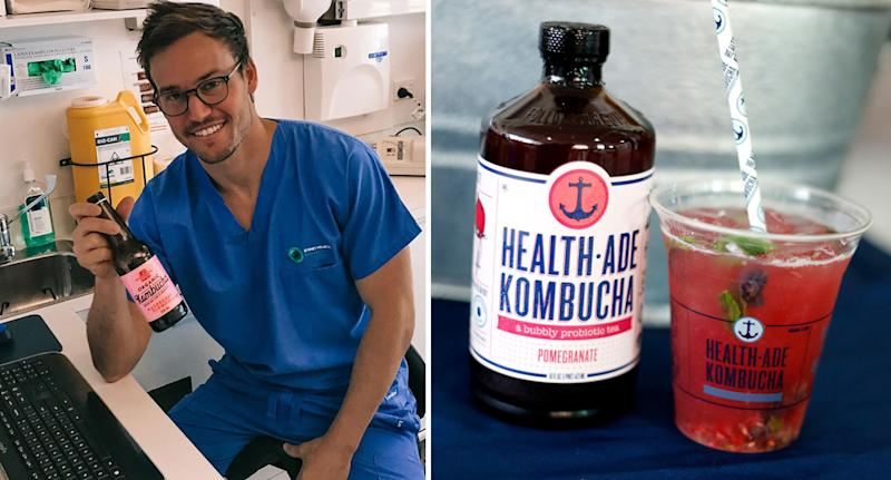 Photo of Sydney dentist Dr Lewis Ehrlich and a file photo of a jar of kombucha which he has warned his clients against.