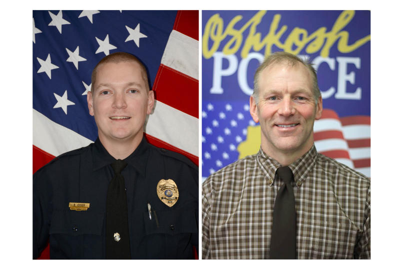 In this combination of undated photos provided by Waukesha and Oshkosh, Wis., Police Departments, show, from left, Waukesha police Sgt. Brady Esser, and Oshkosh police Resource Officer Mike Wissink. Investigators  released the names of the two Wisconsin police officers Wednesday, Dec. 4, 2019, who injured students in back-to-back high school shootings this week. Esser shot a 17-year-old student at Waukesha South High School on Monday after the student allegedly pointed a pellet gun at another student. Wissink wounded a 16-year-old Oshkosh West High School student Tuesday after the boy stabbed him. (Waukesha and Oshkosh, Wis., Police Departments, Police Department via AP)