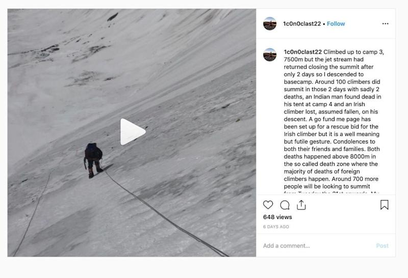 Mr Fisher's Instagram page shows a lengthy post speaking about his concerns with the large queues near the summit of Mount Everest.