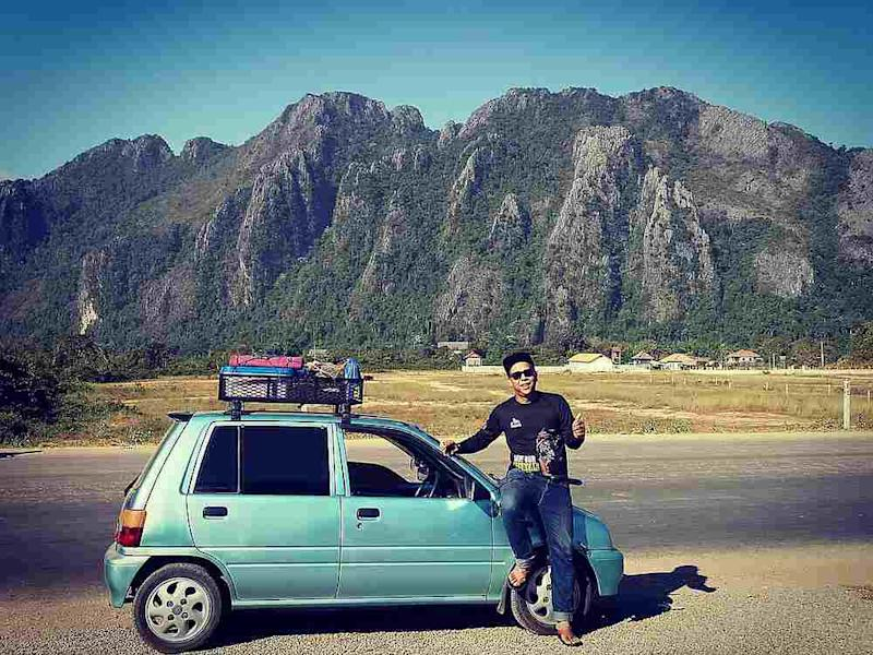 Azman Ali on the way to Laos with his Perodua Kancil. — Picture via Facebook/azman.ali.3152