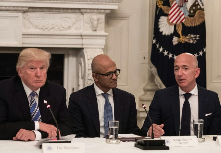 Amazon argues it was shut out of the Pentagon deal because of President Donald Trump's vendetta against the company and its chief executive Jeff Bezos (R)