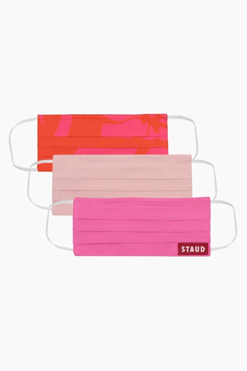 Staud Poplin Mask Set Pink Floral