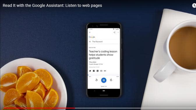 Read It, Fitur Baru Google Assistant untuk Baca dan Terjemahkan Konten Web dalam 42 Bahasa. Kredit: Akun resmi Android di YouTube