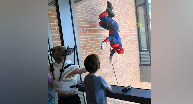 'Spiderman' appeared at the children's hospital (pictured)