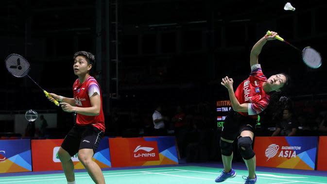 Penampilan ganda putri Indonesia, Ni Ketut Mahadewi Istarani/Apriyani Rahayu, saat menghadapi Thailand pada Kejuaraan Bulutangkis Asia Beregu 2020. (dok. PBSI)