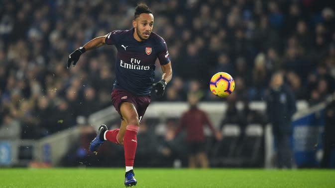 3. Pierre-Emerick Aubameyang (Arsenal) – Penyerang Arsenal Pierre-Emerick Aubameyang berada di urutan ketiga. Striker kelahiran Gabon ini memiliki kecepatan 35,5 km/jam. (AFP/Glyn Kirk)