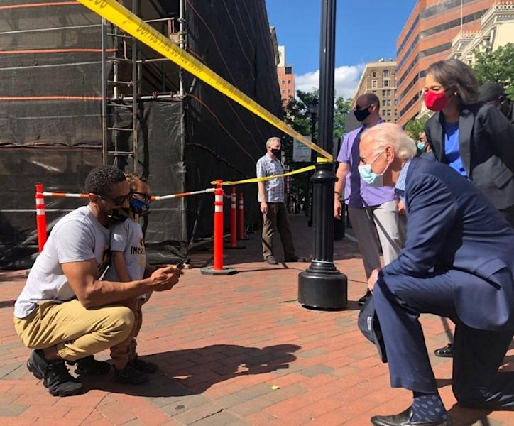 Democratic U.S. presidential candidate and former U.S. Vice President Joe Biden visits a site of the protest over the death of George Floyd in Minneapolis police custody, in Wilmington, Delaware in this social media image courtesy of Biden's campaign