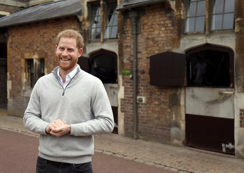 Prince Harry couldn't contain his excitement announcing the birth of the baby. Photo: Getty Images