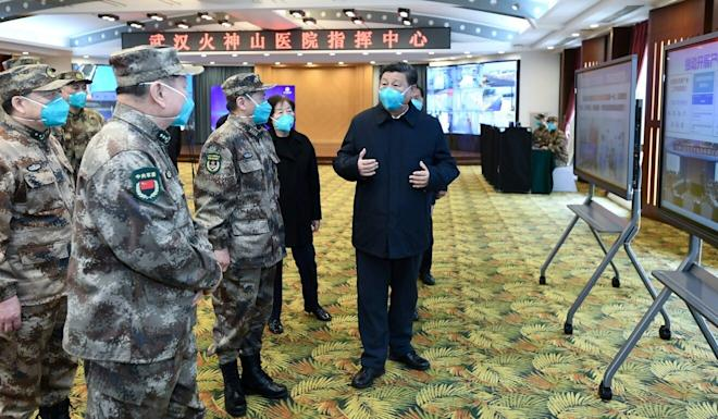 Chinese President Xi Jinping speaks to military hospital staff at Huoshenshan Hospital in Wuhan on March 10. Photo: Xinhua via Reuters